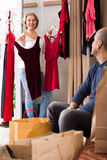 Senior couple in fitting room Stock Photos
