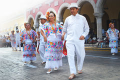 Senior Couple on Folk Costumes. Mexican senior couple dancing with traditional dresses of Merida Yucatan Mexico Royalty Free Stock Photo