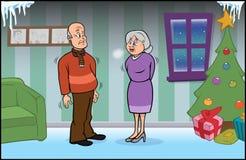 Senior couple freezing. Cartoon  illustration of a senior couple freezing Stock Photos