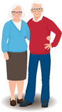 Senior couple in full length vector illustration