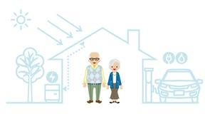 Senior Couple in the Futuristic House Stock Photos