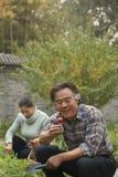 Senior couple in garden Royalty Free Stock Photos