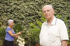 Senior couple in the garden. Senior man in the garden on the foreground , on focus, and her wife watering the plants on the background Royalty Free Stock Photos