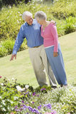 Senior couple in garden Stock Photos