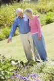 Senior couple in garden stock photos
