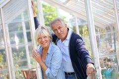 Senior couple gardening Stock Photos