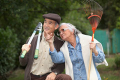 Senior couple gardening Royalty Free Stock Photo