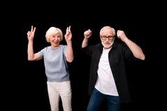 Senior couple gesturing royalty free stock photography