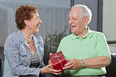 Senior couple giving gift Stock Images