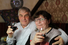 Senior couple with glasses of wine Stock Image