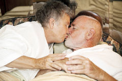 Senior Couple Goodnight Kiss Stock Photography