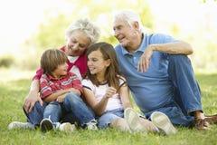 Senior couple and grandchildren in park royalty free stock image