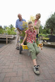 Senior couple and granddaughter (8-10) in garden centre, portrait Stock Images