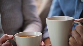 Senior couple hands with cups of tea stock video footage