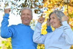Senior couple with hands up Royalty Free Stock Images