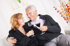 Senior couple. Happy senior couple sitting embraced at home, smiling and drinking red wine Stock Images