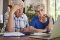 Senior couple have serious problems Stock Photos