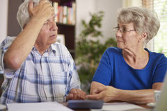 Senior couple have serious problems Royalty Free Stock Image