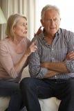 Senior Couple Having Argument At Home Stock Photos