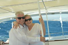 Senior couple having boat ride Royalty Free Stock Image
