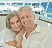 Senior couple having boat ride Royalty Free Stock Photography