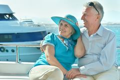 Senior couple having boat ride Royalty Free Stock Photo