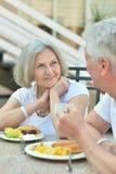 Senior couple having breakfast Stock Images