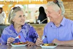 Senior couple having breakfast Stock Photos