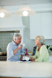 Senior couple having coffee at dining table Stock Image