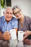 Senior couple having coffee in living room Royalty Free Stock Photography
