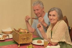 Senior couple having a dinner Royalty Free Stock Images