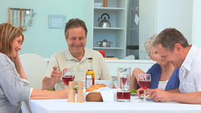 Senior couple having a dinner together stock footage