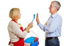 Senior couple having discussion over chores Stock Photo
