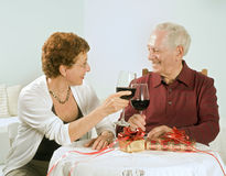 Senior couple having a glass of wine Stock Image