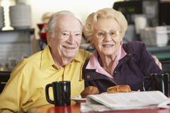 Senior Couple Having Morning Tea Together Stock Photo