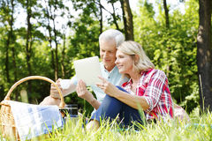 Senior couple having picnic Stock Images