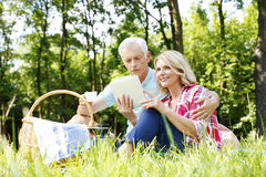 Senior couple having picnic Stock Photo