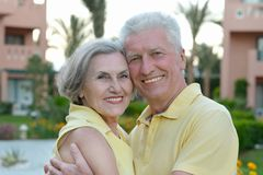 Senior couple having rest at the resort Royalty Free Stock Image