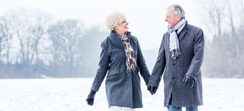 Senior couple having walk in winter Stock Photography