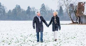 Senior couple having walk in winter Royalty Free Stock Image