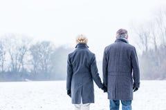 Senior couple having winter walk Royalty Free Stock Photos