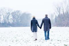 Senior couple having winter walk Stock Photos