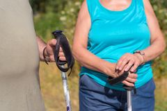 Senior couple on hike close up view royalty free stock photos