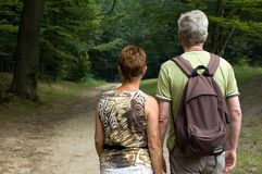 Senior couple hiking -1 royalty free stock images