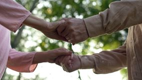 Senior couple holding hands, meeting old age together, close relationship, care stock photo