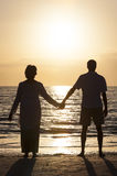 Senior Couple Holding Hands Sunset Tropical Beach. Senior men and women couple holding hands at sunset or sunrise on a deserted tropical beach Stock Photo