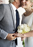 Senior Couple Holding Hands Together Cheerful stock photography