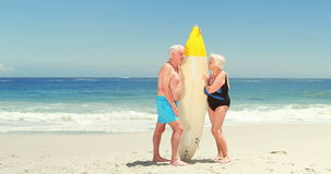 Senior couple holding surfboard. At the beach stock footage