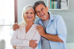 Senior couple at home. Loving senior couple at home Stock Photo