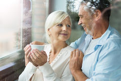 Senior couple at home stock image
